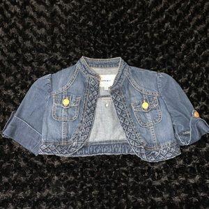 Kids Cropped Denim Jacket with Pockets